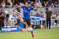 SAN JOSE, CA - AUGUST 13: Luciano Abecasis #2 of the San Jose Earthquakes traps the ball during a game between San Jose Earthquakes and Vancouver Whitecaps at PayPal Park on August 13, 2021 in San Jose, California.