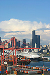 Seattle, Cruise ships bound for Alaska, via the Inside Passage, Port of Seattle, Seattle skyline, waterfront, Elliot Bay, Puget Sound,