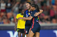HOUSTON, TX - JUNE 13: Margaret Purce #20 of the United States scores a goal and celebrates with Carli Lloyd #10 during a game between Jamaica and USWNT at BBVA Stadium on June 13, 2021 in Houston, Texas.