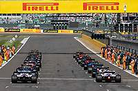 18th July 2021; Silverstone Circuit, Silverstone, Northamptonshire, England; Formula One British Grand Prix, Race Day; The cars start their warm up lap