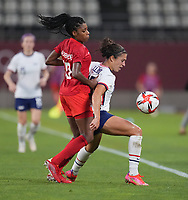 KASHIMA, JAPAN - AUGUST 2: Carli Lloyd #10 of the United States controls the ball during a game between Canada and USWNT at Kashima Soccer Stadium on August 2, 2021 in Kashima, Japan.