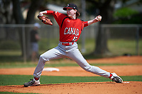 Canada Junior National Team pitcher Connor O'Halloran (13) during an exhibition game against the Toronto Blue Jays on March 8, 2020 at Baseball City in St. Petersburg, Florida.  (Mike Janes/Four Seam Images)