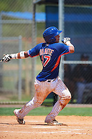 GCL Mets catcher Juan Uriarte (17) at bat during a game against the GCL Marlins on August 12, 2016 at St. Lucie Sports Complex in St. Lucie, Florida.  GCL Marlins defeated GCL Mets 8-1.  (Mike Janes/Four Seam Images)