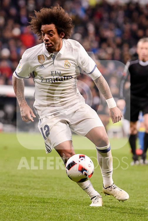 Real Madrid's Marcelo during Copa del Rey match between Real Madrid and Celta de Vigo at Santiago Bernabeu Stadium in Madrid, Spain. January 18, 2017. (ALTERPHOTOS/BorjaB.Hojas)
