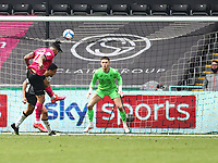 1st May 2021; Liberty Stadium, Swansea, Glamorgan, Wales; English Football League Championship Football, Swansea City versus Derby County; Colin Kazim-Richards of Derby County heads the ball towards goal but saved by Freddie Woodman of Swansea City