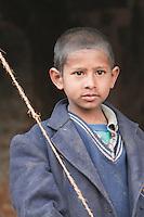 Pashupatinath, Nepal.  Young Nepali Boy at Nepal's Holiest Hindu Temple.