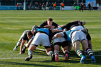 Ealing Trailfinders RFC practice scrums during the Championship Cup Quarter Final match between Ealing Trailfinders and Nottingham Rugby at Castle Bar , West Ealing , England  on 2 February 2019. Photo by Carlton Myrie / PRiME Media Images.
