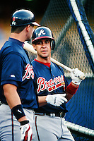 Bret Boone of the Atlanta Braves during a game against the Los Angeles Dodgers at Dodger Stadium circa 1999 in Los Angeles, California. (Larry Goren/Four Seam Images)
