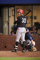 Chattanooga Lookouts catcher Brian Olson (30) at bat in front of catcher Michael Barash (16) during a game against the Mobile BayBears on May 5, 2018 at Hank Aaron Stadium in Mobile, Alabama.  Chattanooga defeated Mobile 11-5.  (Mike Janes/Four Seam Images)