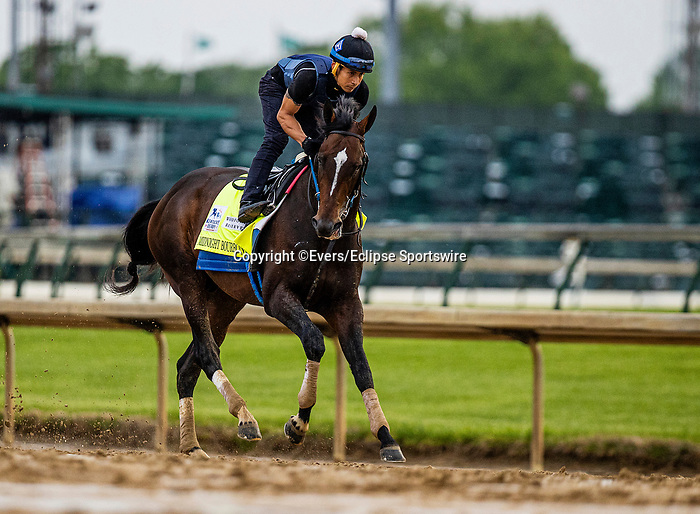 April 29, 2021: Midnight Bourbon gallops in preparation for the Kentucky Derby at Churchill Downs in Louisville, Kentucky on April 29, 2021. EversEclipse Sportswire/CSM