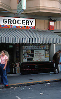 San Francisco:   North Beach Walk--Store Front, Upper Grant.  Photo  '78.