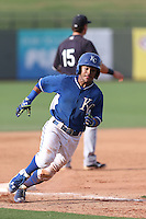 Ricky Aracena (2) of the AZL Royals rounds third base during a game against the AZL Mariners at Surprise Stadium on July 4, 2015 in Surprise, Arizona. Mariners defeated the Royals, 7-4. (Larry Goren/Four Seam Images)