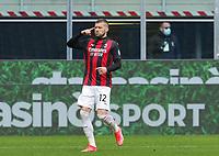Milano  18-04-2021<br /> Stadio Giuseppe Meazza<br /> Serie A  Tim 2020/21<br /> Milan Genoa<br /> Nella foto:  Ante Rebic esultanza                                    <br /> Antonio Saia Kines Milano