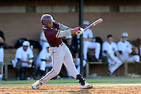 Center fielder Morgan Phillips (15) of the College of Charleston Cougars bats in a game against the University of South Carolina Upstate Spartans on Tuesday, March 31, 2015, at Cleveland S. Harley Park in Spartanburg, South Carolina. Charleston won, 10-0. (Tom Priddy/Four Seam Images)