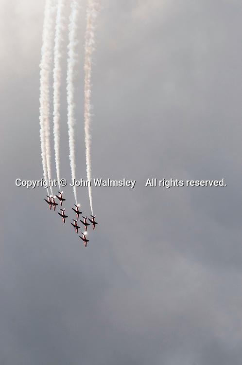 RAF's Red Arrows display team at the Farnborough International Airshow.
