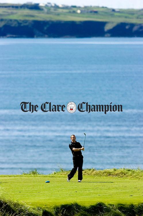 David Fitzgerald (Dromoland) on the 9th tee at Lahinch Golf Club.Pic Arthur Ellis.