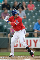Firstbaseman Chad Tracy #28 of the Round Rock Express at bat against the Oklahoma City RedHawks on April 26, 2011 at the Dell Diamond in Round Rock, Texas. (Photo by Andrew Woolley / Four Seam Images)