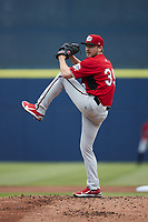 Carolina Mudcats starting pitcher Nick Belzer (39) in action against the Kannapolis Cannon Ballers at Atrium Health Ballpark on June 13, 2021 in Kannapolis, North Carolina. (Brian Westerholt/Four Seam Images)