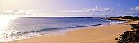 A beautiful stretch of an empty sandy beach on the remote island of Kahoolawe.