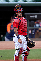 St. Louis Cardinals catcher Yadier Molina (4) during a Major League Spring Training game against the Houston Astros on March 20, 2021 at Roger Dean Stadium in Jupiter, Florida.  (Mike Janes/Four Seam Images)