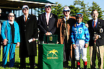 18 October 2009: Javier Castellano, rider of Get Stormy, trained by Thomas Bush poses for photos with connections after winning the 9th running of the Bryan Station Grade III Stake at Keeneland in Lexington, Kentucky.