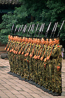 Chinese military soldiers in formation in Beijing China