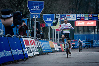 CX world champion Mathieu Van der Poel (NED/Alpecin-Fenix) wins immediatly upon his return in cyclocross for the 2020/2021 season (after taking a break when his road season finished)<br /> <br /> 2020 Scheldecross Antwerp (BEL)<br /> <br /> ©kramon
