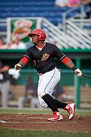 Batavia Muckdogs left fielder Albert Guaimaro (13) at bat during a game against the Lowell Spinners on July 16, 2018 at Dwyer Stadium in Batavia, New York.  Lowell defeated Batavia 4-3.  (Mike Janes/Four Seam Images)