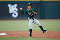 Greensboro Grasshoppers second baseman Nick Gonzales (2) makes a throw to first base against the Winston-Salem Dash at Truist Stadium on August 13, 2021 in Winston-Salem, North Carolina. (Brian Westerholt/Four Seam Images)