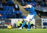 St Johnstone v Partick Thistle…08.08.17… McDiarmid Park.. Betfred Cup<br />Graham Cummins shoots wide after being through on goal by David Wotherspoon<br />Picture by Graeme Hart.<br />Copyright Perthshire Picture Agency<br />Tel: 01738 623350  Mobile: 07990 594431