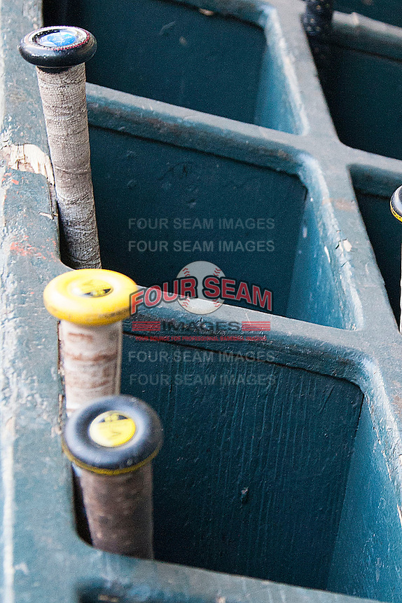 California Golden Bears bat rack before the NCAA baseball game on March 2nd, 2013 at Minute Maid Park in Houston, Texas. North Carolina defeated Cal 11-5. (Andrew Woolley/Four Seam Images)