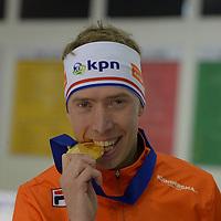 SPEEDSKATING: 16-02-2020, Utah Olympic Oval, ISU World Single Distances Speed Skating Championship, Podium Mass Start Men, Jorrit Bergsma (NED), World champion, gold medal, ©photo Martin de Jong