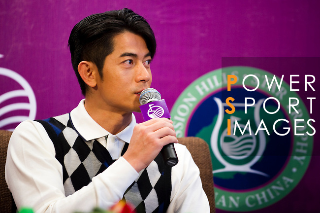 HAIKOU, CHINA - OCTOBER 28:  Hong Kong singer and film actor Aaron Kwok attends a press conference during the Mission Hills Star Trophy on October 28, 2010 in Haikou, China. The Mission Hills Star Trophy is Asia's leading leisure liflestyle event and features Hollywood celebrities and international golf stars.  Photo by Victor Fraile / The Power of Sport Images
