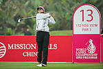 Celine Herbin of France tees off at the 13th hole during Round 3 of the World Ladies Championship 2016 on 12 March 2016 at Mission Hills Olazabal Golf Course in Dongguan, China. Photo by Victor Fraile / Power Sport Images