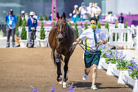 AUS-Kelly Layne's Samhitas is presented by Shane Rose during the 1st Horse Inspection for the Dressage at the Equestrian Park. Tokyo 2020 Olympic Games. Friday 23 July 2021. Copyright Photo: Libby Law Photography
