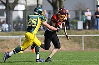 QB Florian Malewki (Rüsselsheim) unter Druck - 08.04.2017: Rüsselsheim Crusaders vs. Nauheim Wildboys, Stadion am Sommerdamm