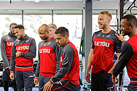 Players watch on team mates exercise in the gym during the Swansea City Training at The Fairwood Training Ground, Swansea, Wales, UK. Thursday 15 February 2018