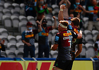 29th May 2021; Twickenham Stoop, London, England; English Premiership Rugby, Harlequins versus Bath; Lewies  and Kenningham of Harlequins celebrating after scoring a try