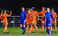 Gent's players pictured celebrating after scoring during a female soccer game between  Racing Genk Ladies and AA Gent Ladies on the eleventh matchday of the 2020 - 2021 season of Belgian Scooore Womens Super League , friday 22 th of January 2021  in Genk , Belgium . PHOTO SPORTPIX.BE | SPP | DAVID CATRY