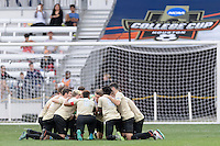 Houston, TX - Friday December 11, 2016: The Wake Forest Demon Deacons huddle prior to the game with the Stanford Cardinal at the NCAA Men's Soccer Finals at BBVA Compass Stadium in Houston Texas.