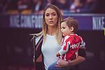 Alice Campello, wife of Atletico de Madrid's Alvaro Morata with their children during La Liga match. Mar 07, 2020. (ALTERPHOTOS/Manu R.B.)