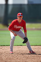 Philadelphia Phillies Lucas Williams (12) during an instructional league game against the Toronto Blue Jays on October 3, 2015 at the Carpenter Complex in Clearwater, Florida.  (Mike Janes/Four Seam Images)