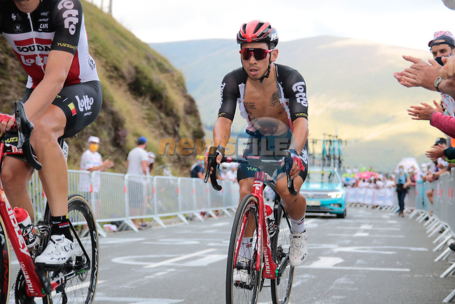 Caleb Ewan (AUS) Lotto-Soudal climbs the Col de Peyresourde in front during Stage 8 of Tour de France 2020, running 141km from Cazeres-sur-Garonne to Loudenvielle, France. 5th September 2020. <br /> Picture: Colin Flockton | Cyclefile<br /> All photos usage must carry mandatory copyright credit (© Cyclefile | Colin Flockton)