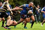 Tony Tuia of Howick makes a break. Fox Memorial Rugby League, Northcote Tigers v Howick Hornets, Birkenhead War Memorial Park Auckland, Saturday 22nd July 2017. Photo: Simon Watts / www.bwmedia.co.nz