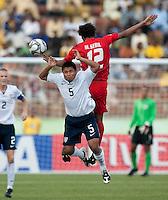 Bryan Duran goes up for the header. US Under-17 Men's National Team defeated United Arab Emirates 1-0 at Gateway International  Stadium in Ijebu-Ode, Nigeria on November 1, 2009.