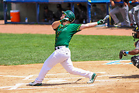 Beloit Snappers designated hitter Kyle Nowlin (17) swings at a pitch during a Midwest League game against the Quad Cities River Bandits on June 18, 2017 at Pohlman Field in Beloit, Wisconsin.  Quad Cities defeated Beloit 5-3. (Brad Krause/Four Seam Images)
