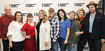"""Mark Blum, Vanessa Aspillaga, Jamie Brewer, Lindsey Ferrentino, Scott Ellis,Diane Davis, Edward Barbanell, Debra Monk, and Josh McDermitt attends the Meet & Greet for the cast of """"Amy and the Orphans"""" at the Roundabout Theatre rehearsal hall on January 10, 2018 in New York City."""