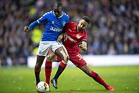 12th March 2020, Ibrox Stadiu, Glasgow, Scotland; Europa League football, Glasgow Rangers versus Bayer Leverkusen;  Glasgow's Glen Kamara holds off Leverkusen's Karim Bellarabi