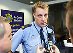 Inspector Kieran Ruane talks to members of the media following a bilateral training exercise between An Garda Siochana and the Defence Forces hosted at Shannon Airport. Photograph by John Kelly.