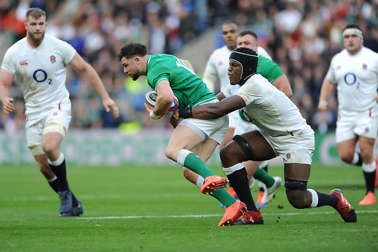 Bundee Aki of Ireland is tackled by Maro Itoje of England  during the Guinness Six Nations match between England and Ireland at Twickenham Stadium on Sunday 23rd February 2020 (Photo by Rob Munro/Stewart Communications)